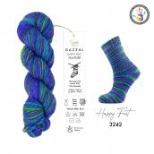 Cuộn len sợi loang nhiều màu bảy sắc cầu vòng Gazzal Happy Feet Yarn Wool Merino